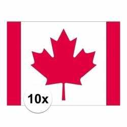 10x stuks vlag canada stickers