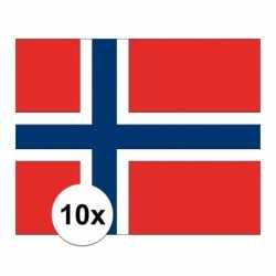 10x stuks vlag noorwegen stickers