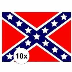 10x stuks vlag usa rebel stickers