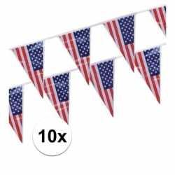 10x stuks vlaggenlijnen amerika/usa