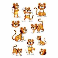 10x tijgers dieren stickers wiebeloogjes