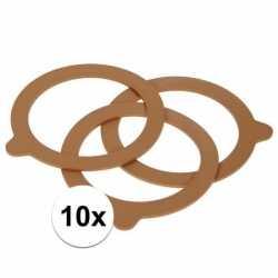10x weckpot inmaakringen rubber bruin 70 mm