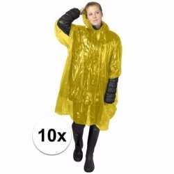10x wegwerp regenponcho geel