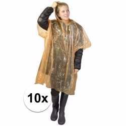 10x wegwerp regenponcho oranje