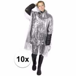 10x wegwerp regenponcho transparant