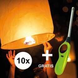 10x wensballon 50 bij 100 incl gratis aansteker