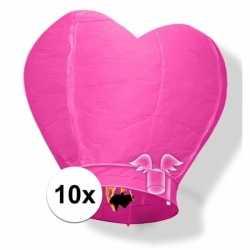 10x wensballon roze hart 100