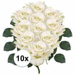 10x witte roos deluxe kunstbloemen 31