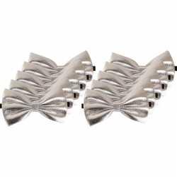 10x zilveren verkleed vlinderstrikjes 14 dames/heren