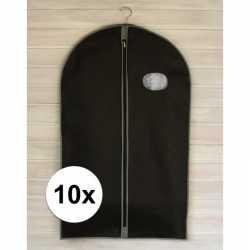 10x zwarte kledinghoezen rits 100