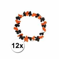 12 Hawaii kransen zwart oranje