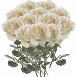 12x creme witte rozen/roos kunstbloemen 37