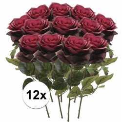 12x donker rode rozen simone kunstbloemen 45