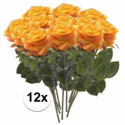12x geel/oranje rozen simone kunstbloemen 45