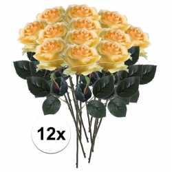 12x gele rozen simone kunstbloemen 45