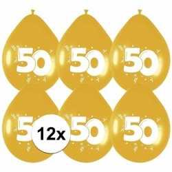 12x gouden ballonnen 50 jaar
