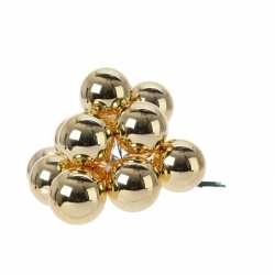12x gouden mini kerstballen kerststukje stekers 2 glans