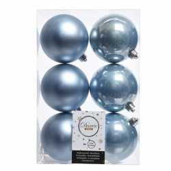 12x ijsblauwe kerstversiering kerstballen kunststof 8