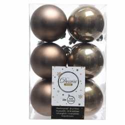 12x kasjmier bruine kerstballen 6 kunststof mat/glans