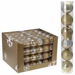 12x kerstboom decoratie kerstballen mix goud 7