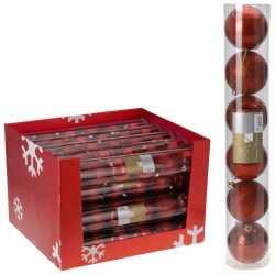 12x kerstboom decoratie kerstballen mix rood 7