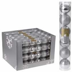 12x kerstboom decoratie kerstballen mix zilver 7