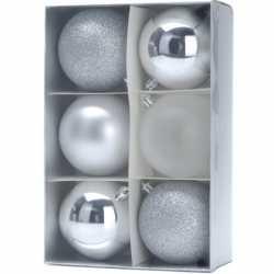 12x kerstboomversiering zilveren kerstballen 8