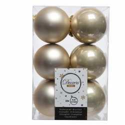 12x licht parel/champagne kerstballen 6 kunststof mat/glans