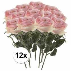 12x licht roze rozen simone kunstbloemen 45