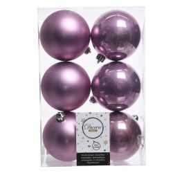 12x lila paarse kerstversiering kerstballen kunststof 8
