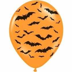 12x oranje/zwarte halloween ballonnen 30 vleermuizen prin