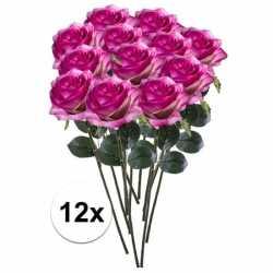 12x paars/roze rozen simone kunstbloemen 45