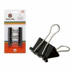 12x papier clips/houders zwart 2,5