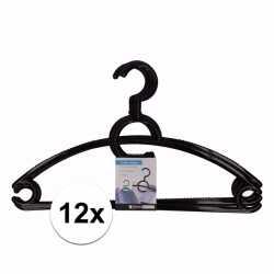 12x plastic kledinghangers zwart
