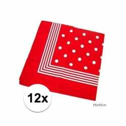 12x rode boeren zakdoeken stippen