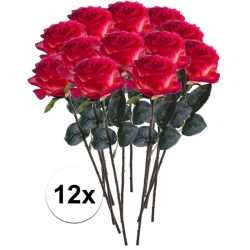 12x rood/gele rozen simone kunstbloemen 45
