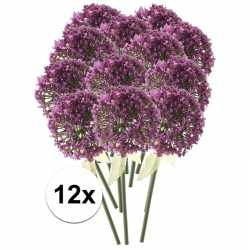 12x roze/paarse sierui kunstbloemen 70