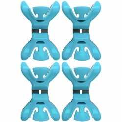 12x slingers/decoratie ophangen slingerklemmen blauw