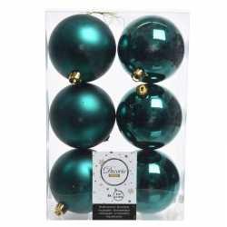 12x smaragd groene kerstversiering kerstballen kunststof 8