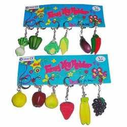 12x stuks groente fruit sleutelhanger