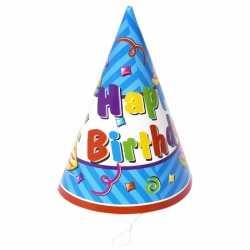 12x stuks papieren feesthoedjes happy birthday