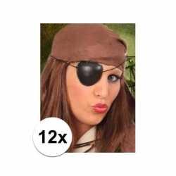 12x stuks piraten ooglapjes zwart