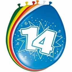 16x stuks ballonnen versiering 14 jaar