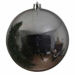 1x grote zilveren kerstballen van 14 glans van kunststof
