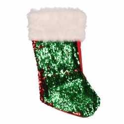 1x wrijf (omkeerbare) pailletten kerstsokken rood/groen