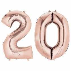 20 jaar rose gouden folie ballonnen 88 leeftijd/cijfer
