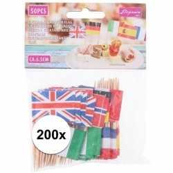 200x europese landen vlaggetjes cocktailprikkers