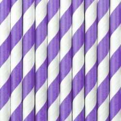 20x papieren rietjes paars/wit gestreept