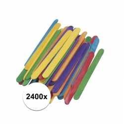 2400x gekleurde ijsstokjes knutselhoutjes 5,5