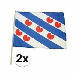 2x friesland zwaaivlaggen lichtblauw 45 bij 30